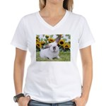 Presto with Sunflowers-1 Women's V-Neck T-Shirt