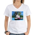Buttercup Bunny on Lily Pads-2 Women's V-Neck T-Sh