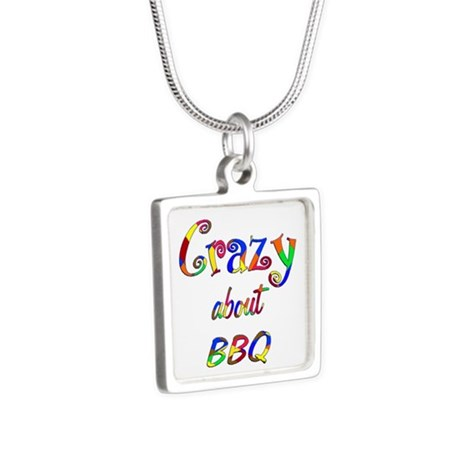 Crazy About BBQ Silver Square Necklace
