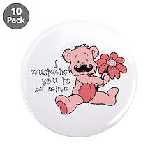 """Mustache bear 3.5"""" Button (10 pack)"""