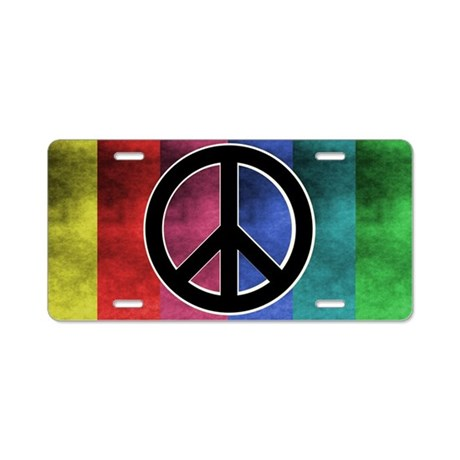 Retro Colorful Peace Sign Aluminum License Plate