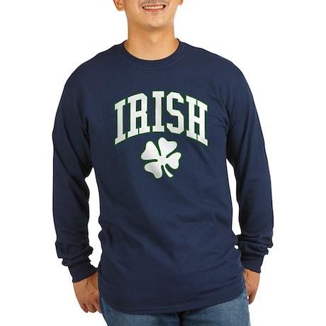 IRISH with Shamrock Long Sleeve Dark T-Shirt