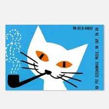 1966 Polish Smoking Cat Matchbox Label Postcards (