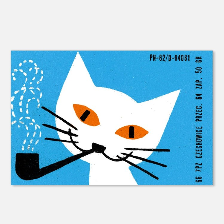 1966 Polish Smoking Cat Matchbox Label Postcards (