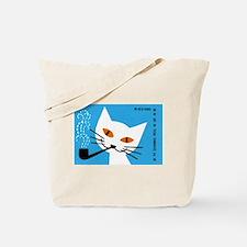 1966 Polish Smoking Cat Matchbox Label Tote Bag