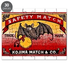 Antique 1935 Japanese Bats Matchbox Label Puzzle