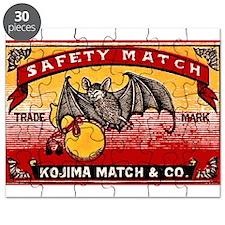 Antique 1935 Japanese Bats Matchbox Label Puzzle