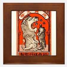 1910 Japanese Lion and Cat Matchbox Label Framed T