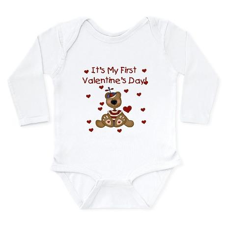 First Valentine's Boy Bear Infant Creeper Body Sui