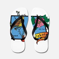 North Dakota Map Flip Flops