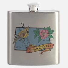 North Dakota Map Flask