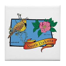 North Dakota Map Tile Coaster