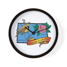 North Dakota Map Wall Clock