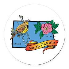 North Dakota Map Round Car Magnet