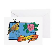 North Dakota Map Greeting Cards (Pk of 20)
