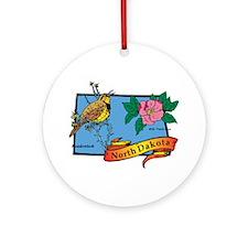 North Dakota Map Ornament (Round)
