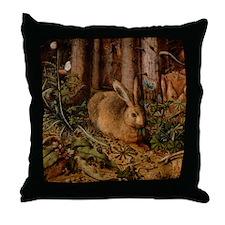 Forest Rabbit Throw Pillow