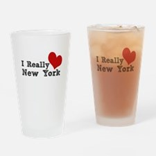 I Really Love Heart New York Drinking Glass