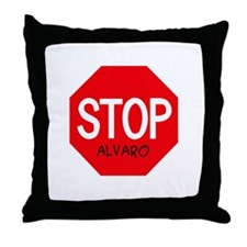 Stop Alvaro Throw Pillow