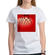 View of a Snellen eye test chart - Tee