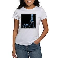 Skeleton walking a marmoset, X-ray - Tee