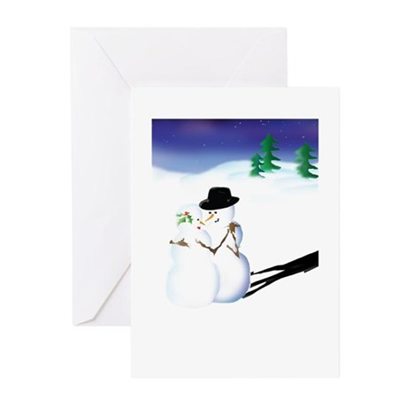 103004snowpeople Greeting Cards