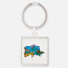 South Dakota Map Square Keychain