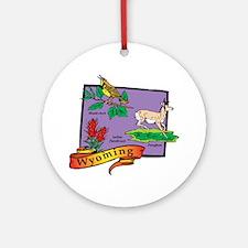 Wyoming Map Ornament (Round)
