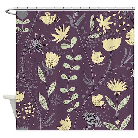 purple floral pattern shower curtain by bestshowercurtains. Black Bedroom Furniture Sets. Home Design Ideas
