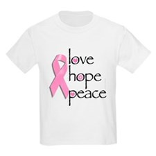 Breast Cancer Love Hope Peace Kids T-Shirt