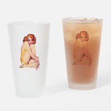 Shy and Sultry Redhead Drinking Glass
