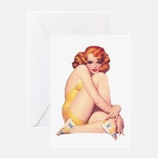 Shy and Sultry Redhead Greeting Card