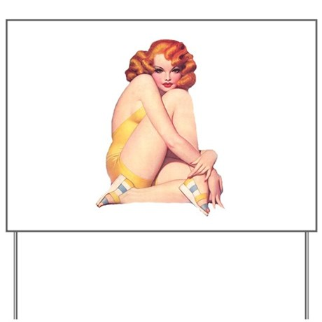 Shy and Sultry Redhead Yard Sign