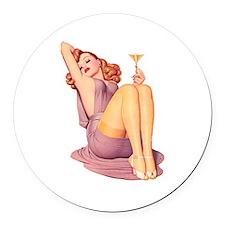 Bottoms Up! Round Car Magnet