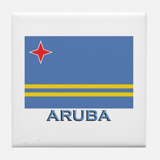 Aruba Flag Gear Tile Coaster