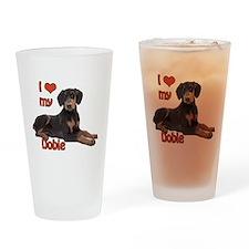I heart my Doberman Drinking Glass