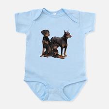 three dobermen Infant Bodysuit