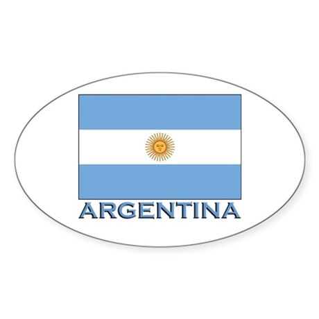 Argentina Flag Gear Oval Sticker