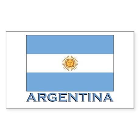 Argentina Flag Gear Rectangle Sticker
