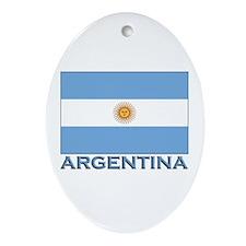 Argentina Flag Gear Oval Ornament