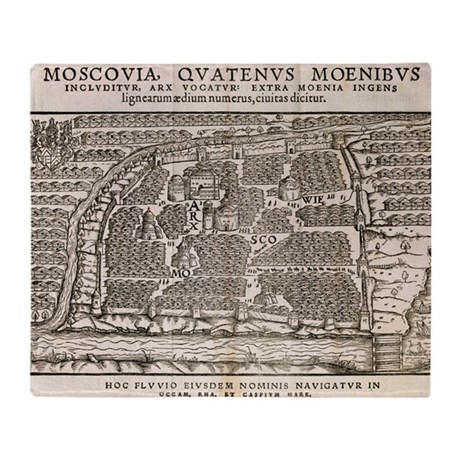 Map of Moscow, 16th century - Throw Blanket