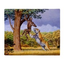 Scimitar cat attacking a hominid - Throw Blanket