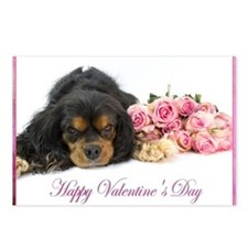 Happy Valentines Day With Spaniel Ad Pink Roses