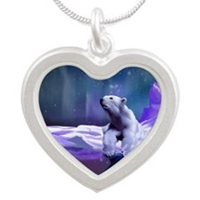 Contemplative Polar Bear Silver Heart Necklace