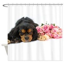 Cavalier King Charles Spaniel Pink Roses Shower