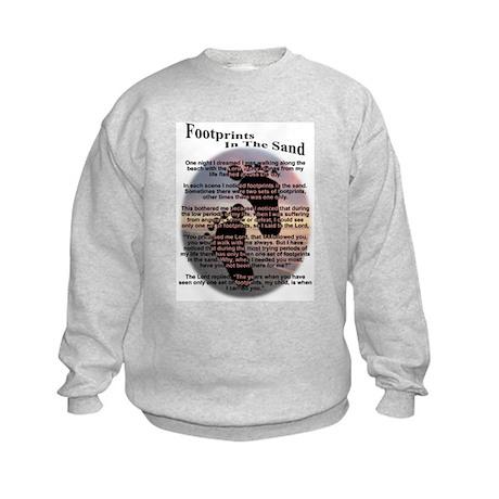 Footprints In The Sand Kids Sweatshirt