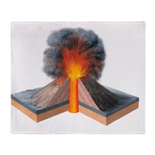 Erupting cinder cone, artwork - Throw Blanket