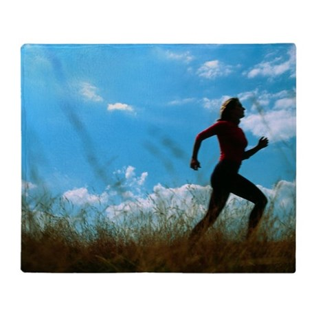 Woman jogging - Throw Blanket