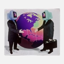 Businessmen with computer heads - Throw Blanket