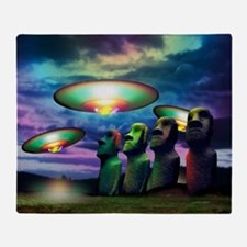 UFOs over statues - Throw Blanket